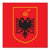 "Albania Coat Of Arms Square Car Magnet 3"" x 3"""