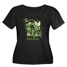Auntie, Green Swirl Design. T