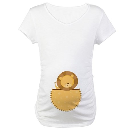 Lion Baby Pregnancy Belly Print Maternity T-Shirt