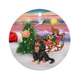 Treat for a Black/Tan Cavalier Ornament (Round)