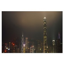 Buildings lit up at night, International Finance C