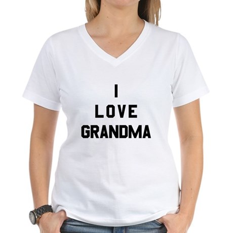 I Love Grandma Womens V-Neck T-Shirt
