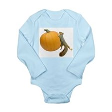 Squirrel Rolling Pumpkin Long Sleeve Infant Bodysu