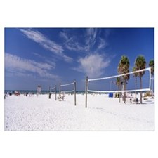 Volleyball nets on the beach, Siesta Beach, Siesta