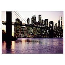 Bridge across a river, Brooklyn Bridge, East River