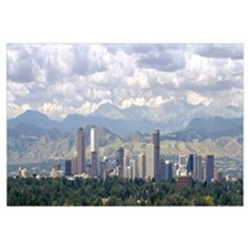 Clouds over skyline and mountains, Denver, Colorad