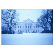 White House with snow at dusk, Washington DC