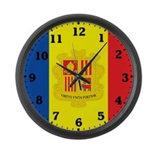 Andorra Flag Large Wall Clock