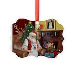 Santa & Akita Picture Ornament