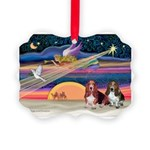 Xmas Star & 2 Bassets Picture Ornament