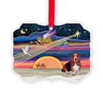 Xmas Star & Basset Picture Ornament
