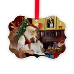 Santa & His Brittany Picture Ornament