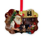 Santa's Dachshund (bt) Picture Ornament