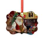 Santa's Dachshund (b) Picture Ornament