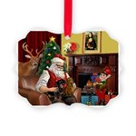 Santa/Two Dachshunds (BB) Picture Ornament