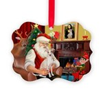 Santa's Ital Greyhound Picture Ornament