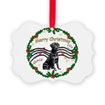 XmasMusic2/Lab (black) Picture Ornament