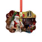 Santa's Yellow Lab #7 Picture Ornament