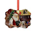 Santa's 2 Labs (Y+B) Picture Ornament