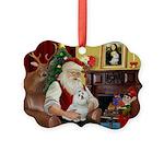 Santa's Maltese Picture Ornament