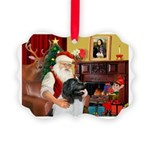 Santa's Newfie (L) Picture Ornament
