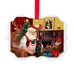 Santa's Two Pugs (P1) Picture Ornament