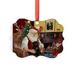 Santa's Black Pug Picture Ornament