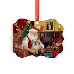 Santa/Tibetan Spaniel Picture Ornament