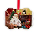 Santa's Westie pair Picture Ornament