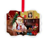 Santa & his 2 Whippets Picture Ornament
