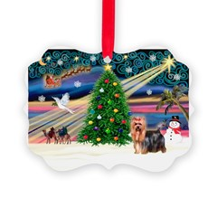 Xmas Magic & Yorkie Picture Ornament