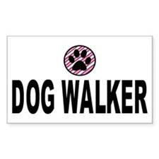 Dog Walker Pink Stripes Rectangle Decal