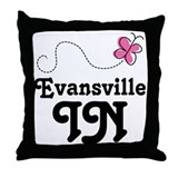 Evansville Indiana Butterfly Throw Pillow