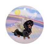 Black & Tan Dachshund Angel Ornament (Round)