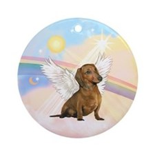 Clouds - Brown Dachshund Angel Ornament (Round)