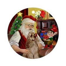 Santa's Cocker Spaniel Ornament (Round)