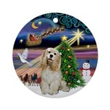 XmasMusic-Buff Cocker Spaniel Ornament (Round)