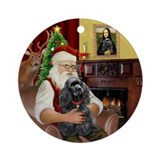 Santa's Black Cocker Spaniel Ornament (Round)