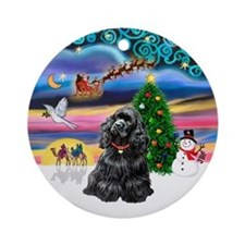 XmasMagic-Black Cocker Ornament (Round)