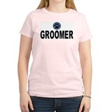 Groomer Blue Stripes Women's Pink T-Shirt