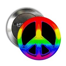 RAINBOW WATERCOLOR PEACE ON BLK Button