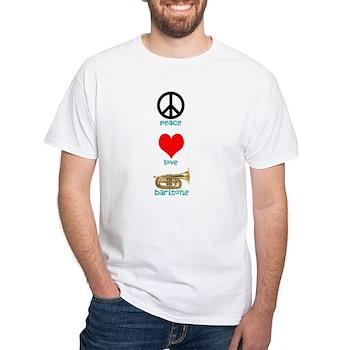 Peace Love Baritone White T-Shirt