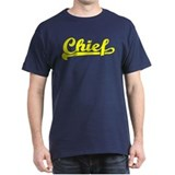 Yellow print Chief script lettering T-Shirt