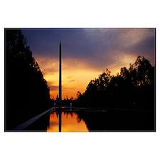 Silhouette of an obelisk at dusk, Washington Monum
