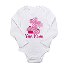 1st Birthday Pink Cupcake Long Sleeve Infant Bodys
