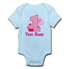 1st Birthday Pink Cupcake Infant Bodysuit