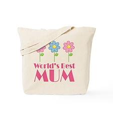 Mum (Worlds Best) Flowered Tote Bag