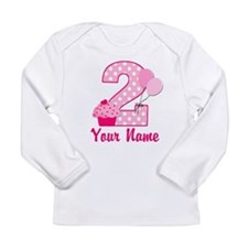 2nd Birthday Cupcake Long Sleeve Infant T-Shirt