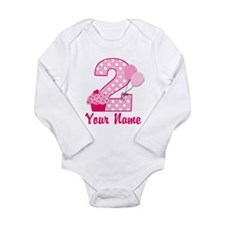 2nd Birthday Cupcake Long Sleeve Infant Bodysuit
