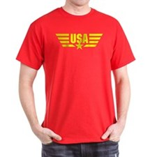 Yellow print USA Star and Stripes Wings T-Shirt